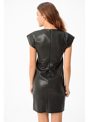 Jument Kadın Ekolojik Deri Düşük Omuz Vatkalı Elbise- Haki Haki